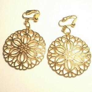 """2"""" Gold Clips Flower Hollow Hoop Dangle Clip-ons"""